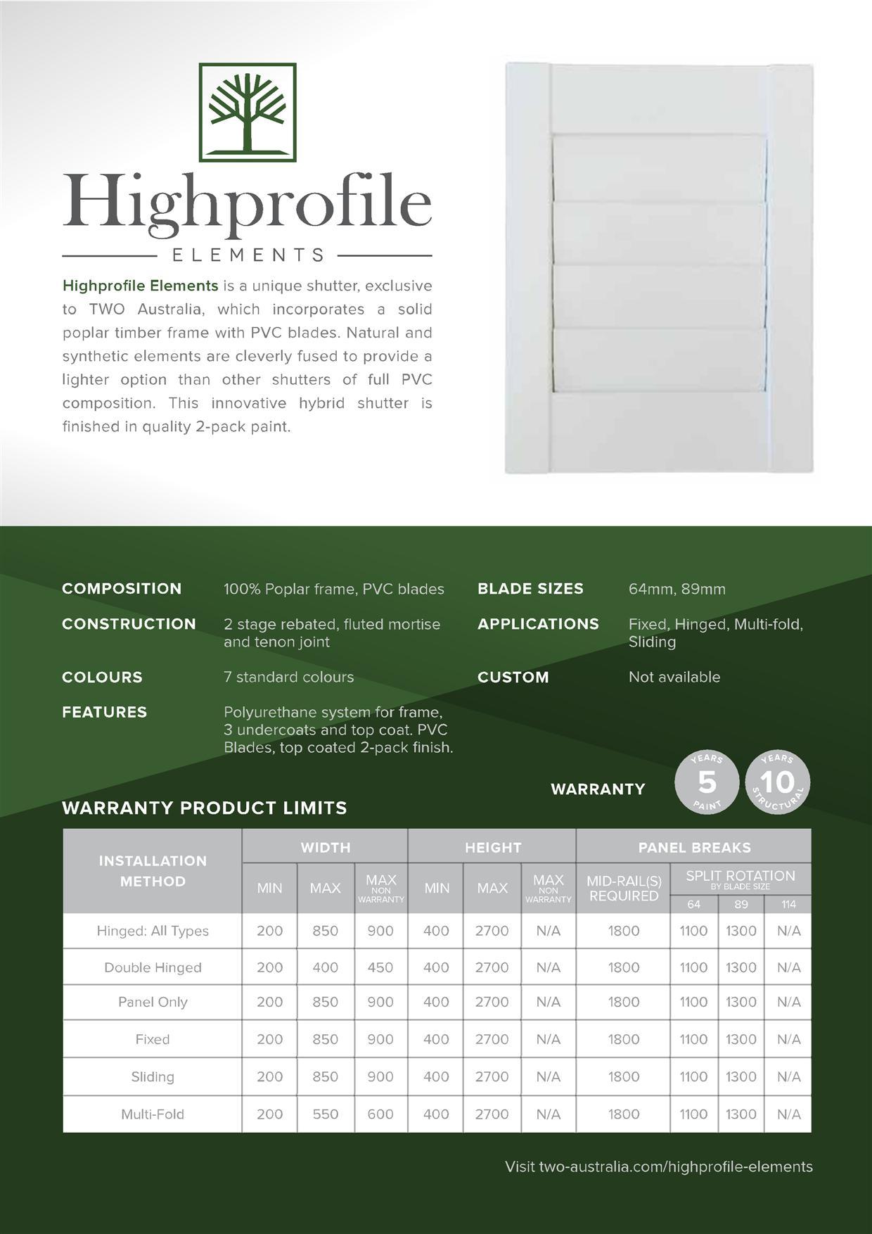 Hybrid Elements Shutters In Melbourne Specs Brochure